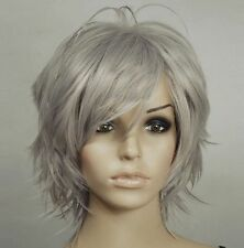 Temp Dark Grey Hand Spikeable Shaggy Cut Short Cosplay DNA Wig+FREE WIGS CAP