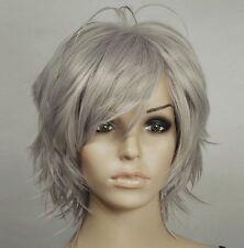 Temp Dark Grey Hand Spikeable Shaggy Cut Short Cosplay DNA Wig+FREE WIGS CAP