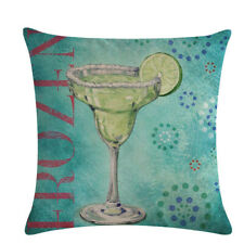 Sofa Chair Decoration Square Champagne Glass Cushion Covers Linen Pillow Cases A