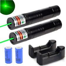 2Pc 900Miles Long Range Green Laser Pointer Pen Rechargeable+16340 Battery+Char
