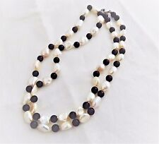 NEW FRESHWATER WHITE BAROQUE  PEARL AND 6MM BLACK ONYX BEAD NECKLACE 27 ""