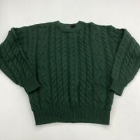 Structure Cable-Knit Sweater Men's Small Long Sleeve Green Crew Neck 100% Wool