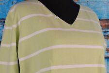 Sutton Studio V-Neck Sweater Size Large 3/4 Sleeve Cotton Striped Australia Warm