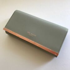 New TED BAKER Leather Metal Bar Matinee Wallet On Chain Bag Grey $157