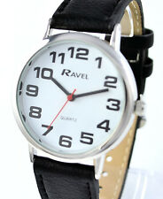 Ravel Mens Ladies BIG Numbers Watch Easy Read Clear Dial Extra Long Black Strap