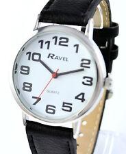 Ravel Herren Damen große Zahlen Uhr Einfach Lesen Klar Ziffernblatt extra lang schwarz Riemchen