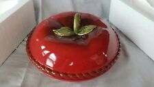 "Main Ingredients Ceramic Covered Pie Dish Red Apple 10 3/4"" diameter w/ lid New"