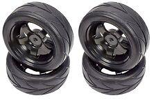Apex RC Products 1/10 On-Road Black 5 Spoke Wheels / V Tread Tires HPI #5000