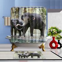 The Elephant Theme Waterproof Fabric Home Decor Shower Curtain Bathroom Mat