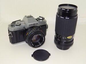 Minolta X300 35mm Two Lens Film SLR Camera Vintage 70s SERVICED Working Warranty