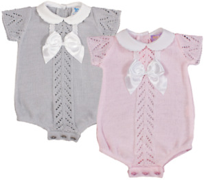Baby girl Spanish style FINE KNIT fancy knitted romper BOW
