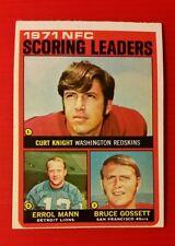 VINTAGE 1972 TOPPS REDSKINS TEAM LEADERS #8 ERROL MANN - CURT KNIGHT - GOSSETT
