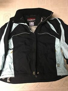 Karbon Style K2622 Women's Insulated Ski Jacket Size 10 Black/Light Blue ZIP