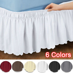 Wrap Around Pure Color Bed Skirt Bed Apron Elastic Band Home Decor Ruffled UK