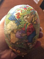 Vintage Paper Mache Easter Egg Candy Holder Hen Rabbit German Democratic Repub