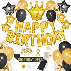 43pcs Birthday Decoration Kits Queen Birthday Sash Crown Tiara Cake Topper Gold
