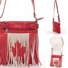 Messenger Bag Canada Crossbody Red Maple Leaf Flag Fringe Concealed Carry Cute