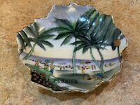 SPHINX NY FLORIDA SOUVENIR PLATE VINTAGE HANDPAINTED LEAF DISH BEACH PALM TREES