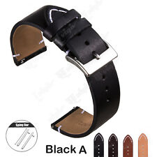 18 20 22mm Quick Release Pin Genuine Leather Watch Band Replace Wrist Strap Band