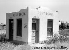 Public Restroom in Ghost Town of Forgan, Oklahoma - 1939 - Historic Photo Print