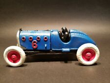 Antique Vintage Style Cast Iron #6 Blue Toy Race Car w Lifting Hood