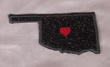 Embroidered Black Glitter Sparkle Oklahoma OK Love State Patch Iron On Sew USA