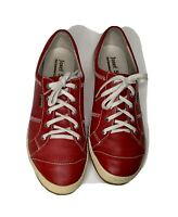 Women's Red Leather Josef Seibel Lace Up Casual Shoes Sneakers sz.37 (US 6.5)