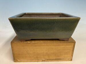 """Green Glazed Glazed Tokoname Bonsai Tree Pot Yamaaki 9 3/4"""""""