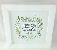 For with God nothing shall be impossible Luke 1:37 Framed White Canvas Home Deco