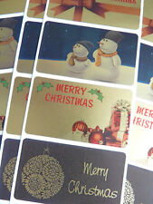 Merry, Happy Christmas Greeting Stickers, Labels for Cards, Envelopes HCG5230