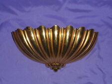 Vtg Homco Home Interior Brassy Gold Wall Pocket Planter Ribbed #4246