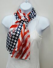 New listing American Flag Scarf Patriotic Stars & Stripes Red White Blue Scarf # 075 New