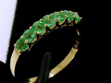 R183 Genuine 9ct Solid Yellow Gold Natural Emerald Eternity Ring 7-Stone size M