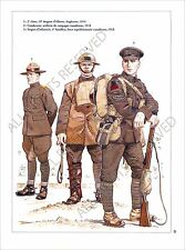 PLANCHE UNIFORM PRINT WWI Armée canadienne Canadian Armed Forces Canada Army