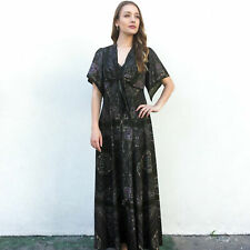 Vintage VTG 70s 1970s Two Piece Olive Paisley Patterned Maxi Dress