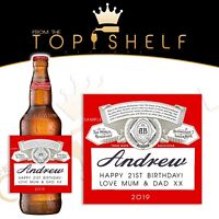 Personalised Budweiser lager / beer bottle label any name / greetings