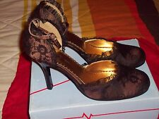 Pulse Girl-77 style Bronze Satin & Lace Highheel Dress Shoes Size 10