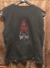 HARLEY DAVIDSON GENUINE ~ Women's LRG Zip Up Black Embroidered Rose Dagger Vest