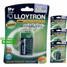4 x Lloytron 9V PP3 Rechargeable Battery 250 mAh 6LR61