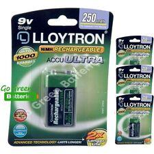 4 x Lloytron 9V PP3 Rechargeable Battery 250 mAh 6LR61