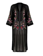 Beautiful Black sheer floral embroidered kimono Size Small RRP-£45.00