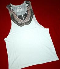 """ALL SAINTS RARE """"WING RAW VEST"""" T-SHIRT TOP TEE - WHITE - SIZE L LARGE"""