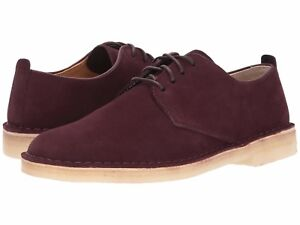 Men's Shoe Clarks Desert London Leather Lace Up Oxfords 28511 Burgundy Suede