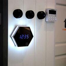 Modern LED Digital Display Wall Alarm Clock Makeup Mirror Touch Night Light