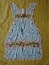 Vintage 1920s Silk French Apron With Embroidery and Ribbonwork