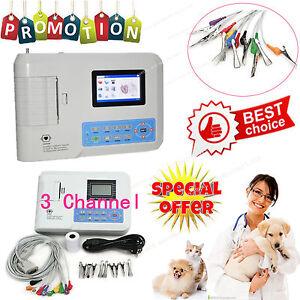 Veterinary Vet 3 Channel 12 lead ECG EKG machine+PC software Electrocardiograph