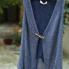 1PC Antique Natural Bamboo Metal Pin Brooch Clip Simple Scarf Shawl Safety Pin