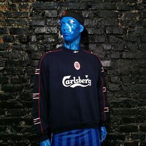 Liverpool Vintage Training Jacket Long Sleeve Reebok With Stripes Mens Size M