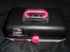 VINTAGE CABOODLES MAKEUP / NAIL BLACK COSMETIC ORGANIZER CARRYING CASE MIRROR