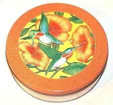 "Green Humming Birds Flowers Orange Speckels Empty 6 1/2"" x 2"" Canister Tin"